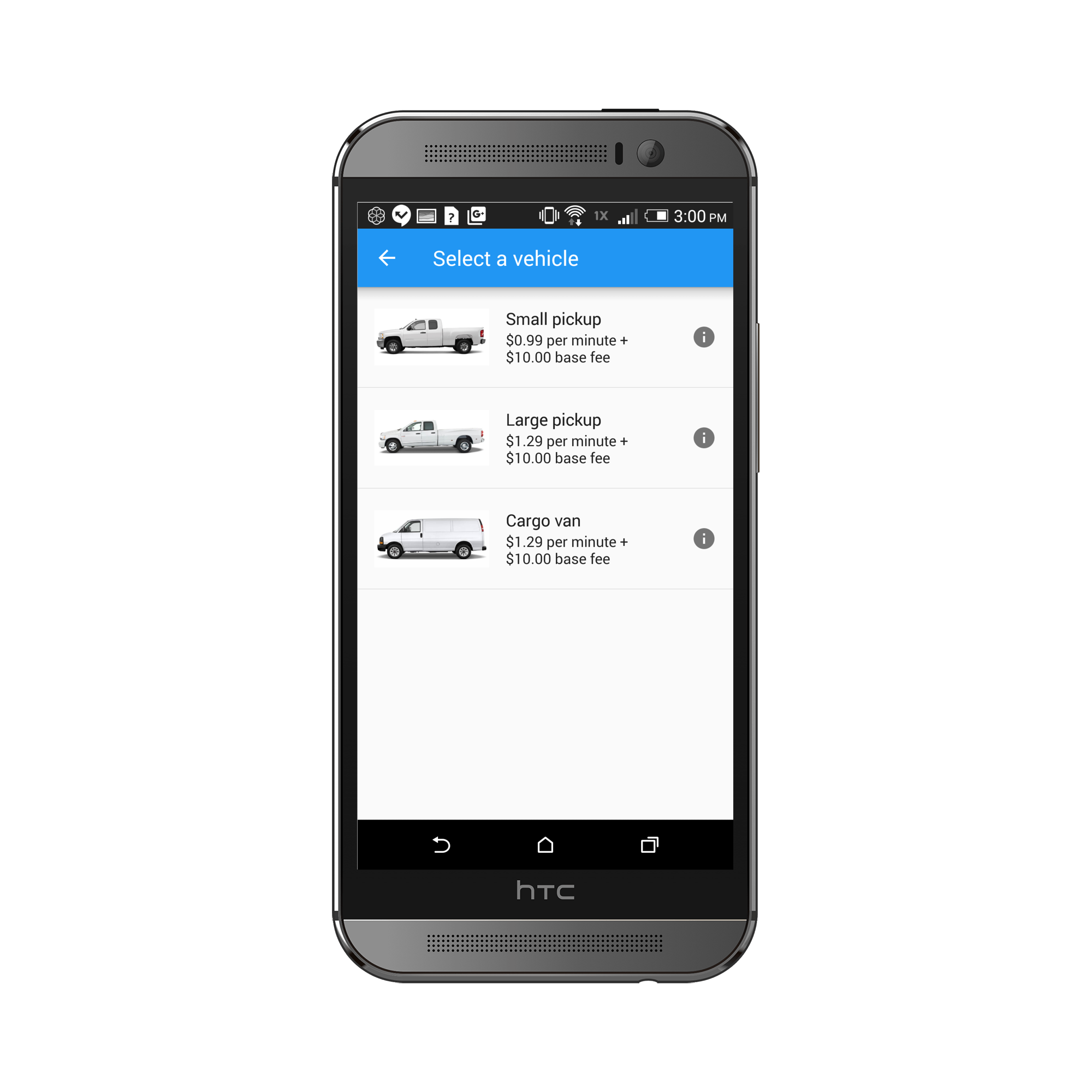 Android Vehicle Selection