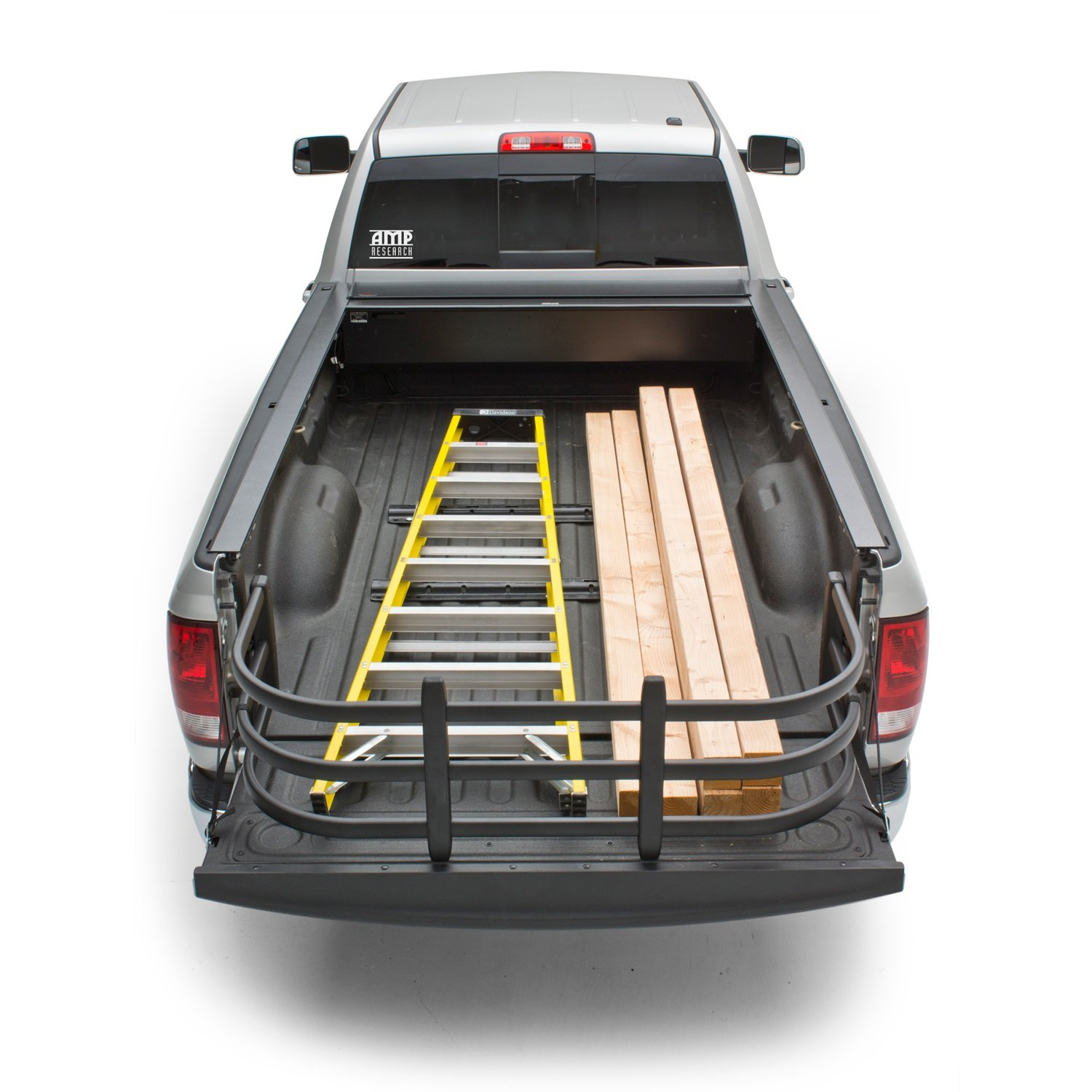 Truck with Bed Extender, Truck Bed Has a Ladder and Lumber
