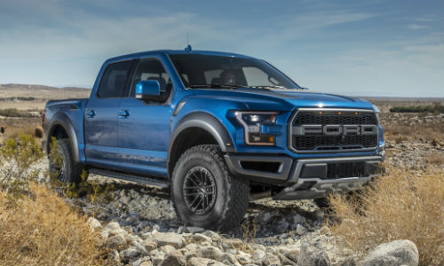 2020 Ford Raptor Blue Parked in Desert
