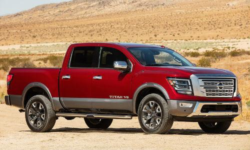2020 Nissan Titan parked in a desert