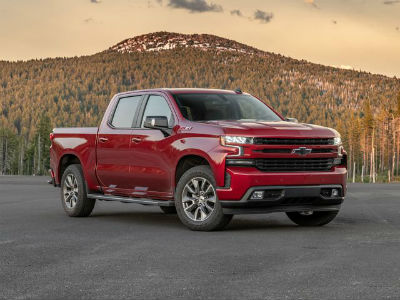 2020 Chevrolet Silverado Red Parked with Mountain View