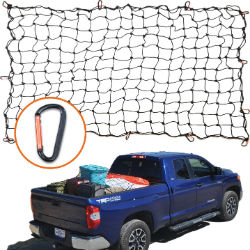 4x6 Super Duty Bungee Cargo Net shown on white background and attached to blue pickup