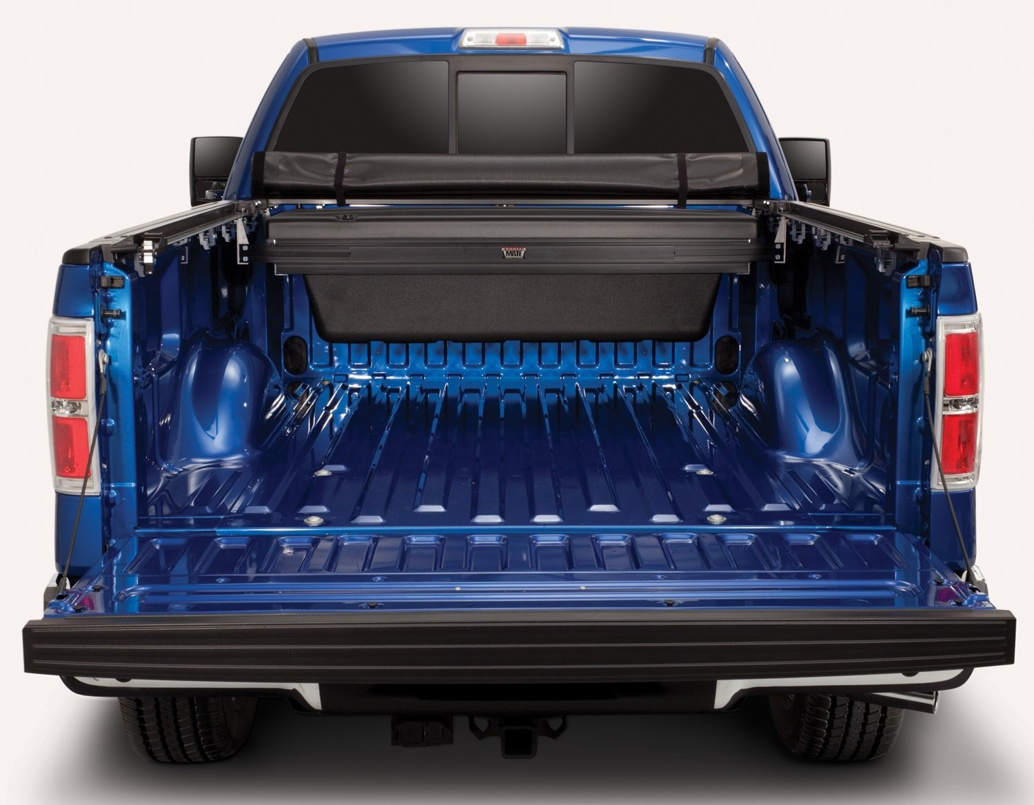 TruXedo Truck Luggage - TonneauMate Toolbox installed in a blue truck