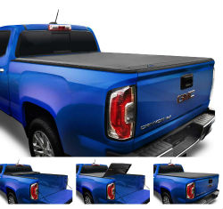 Tyger Tri-Fold Truck Tonneau Cover - Four Photos demonstrate cover extended and folded