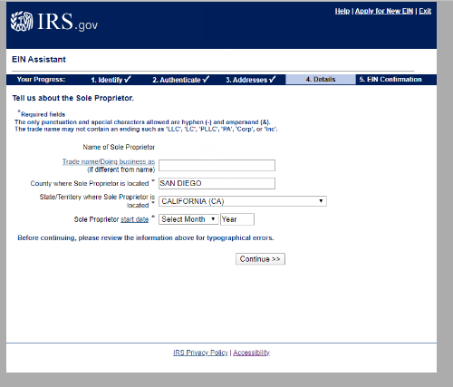 Screen confirming business name - IRS website screen capture