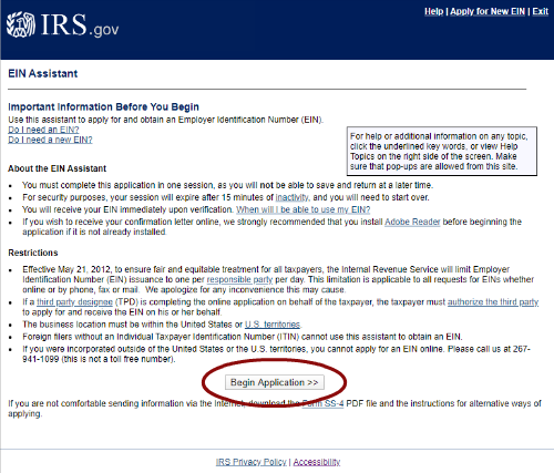 Screen Shot of the IRS website for EIN applications, Begin is circled