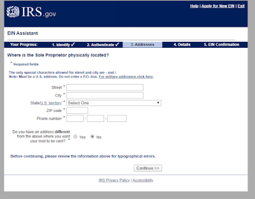 Screenshot of IRS EIN Application with address form