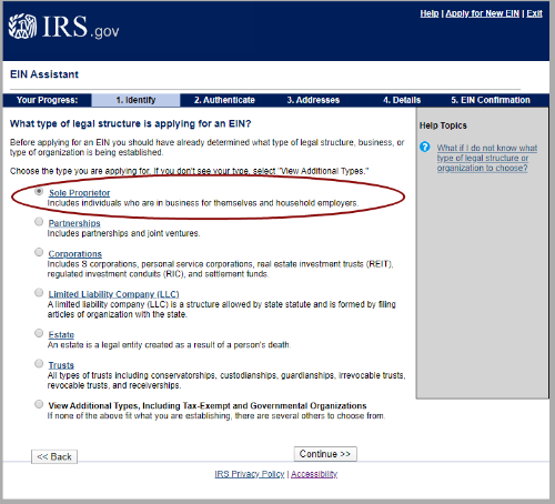 Screen shot of IRS website asking about legal business structure, sole proprietor is circled